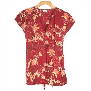 Cato Red Floral V Neck Blouse Size Small